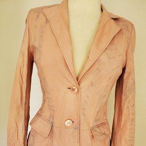 Escada leather jacket blazer pink beige blue XS 4